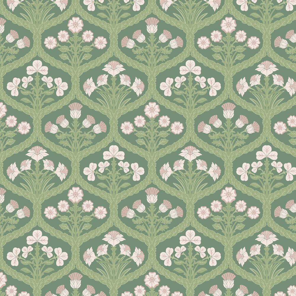 Floral Kingdom Wallpaper - Ballet Slipper / Leaf Green / Forest Green - by Cole & Son