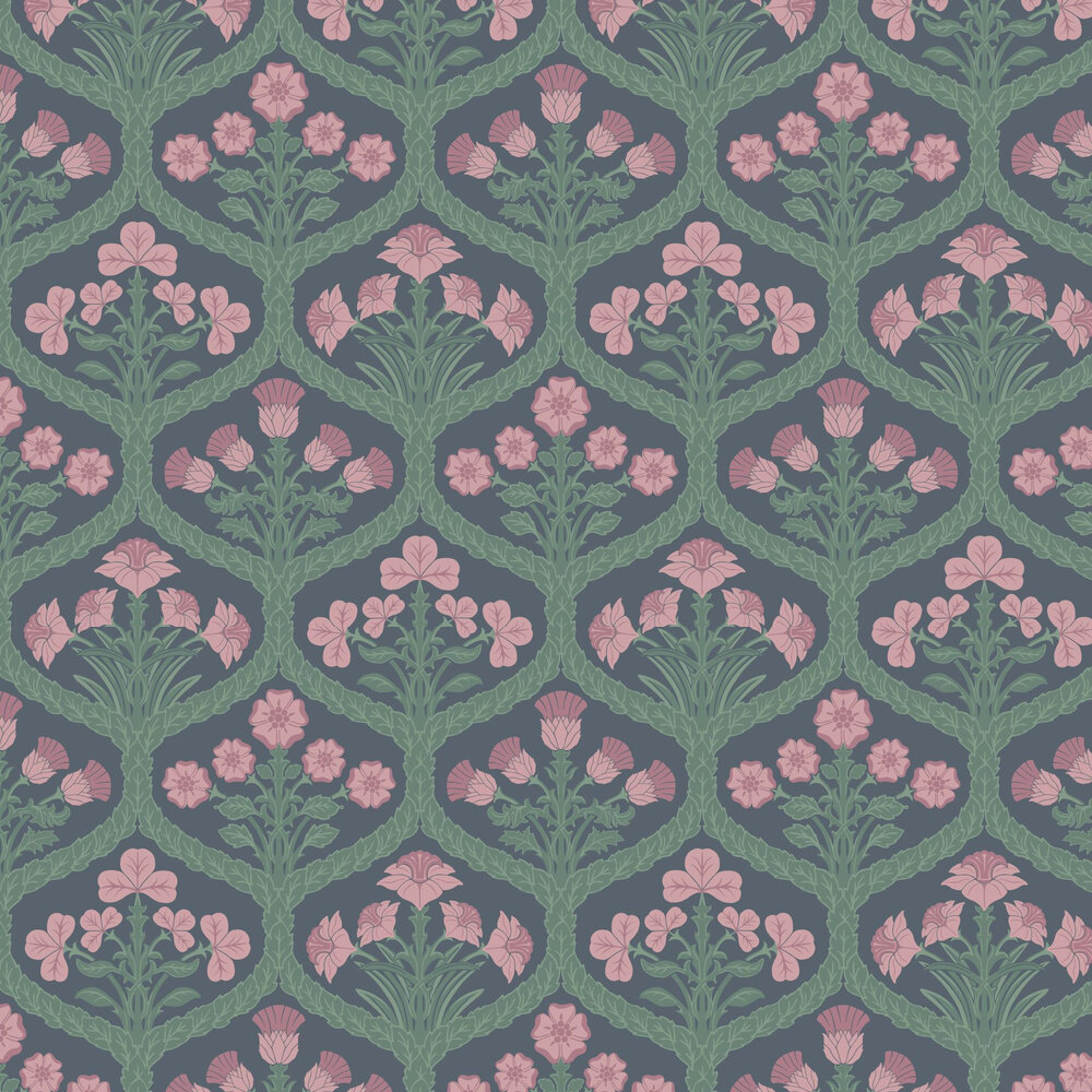 Floral Kingdom Wallpaper - Rose / Forest Green / Charcoal - by Cole & Son