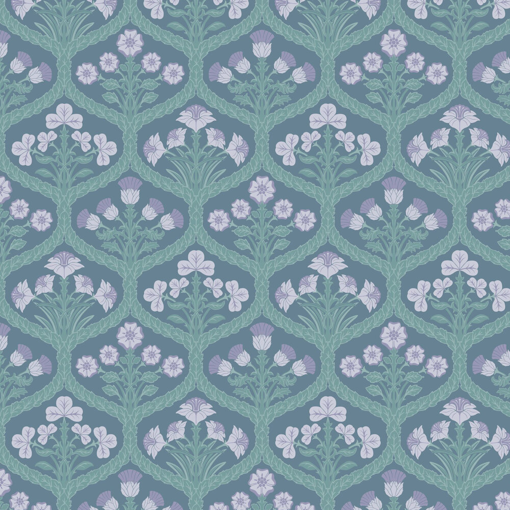 Floral Kingdom Wallpaper - Lilac / Teal / Denim - by Cole & Son