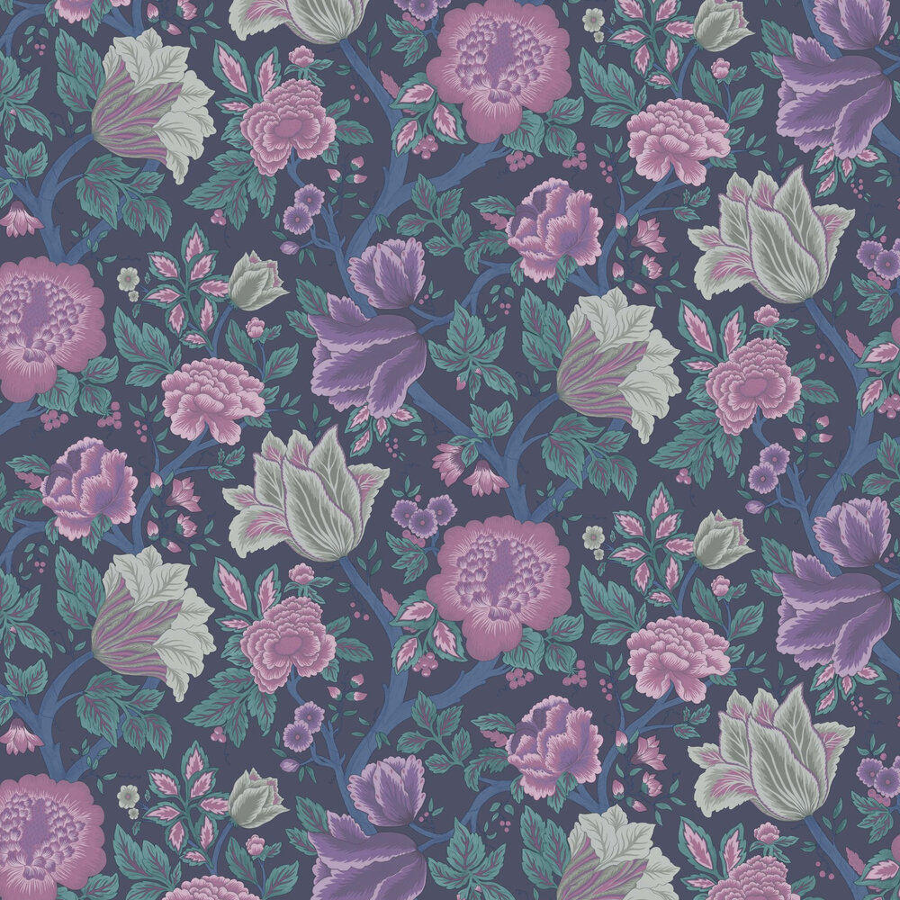 Midsummer Bloom Wallpaper - Mulberry / Purple / Teal / Ink - by Cole & Son