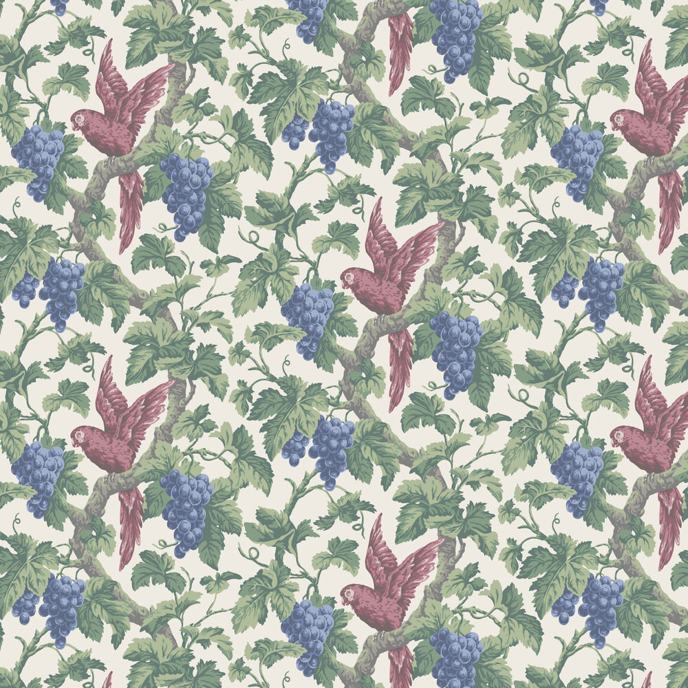 Woodvale Orchard Wallpaper - Rose / Hyacinth / Forest Green / Parchment - by Cole & Son