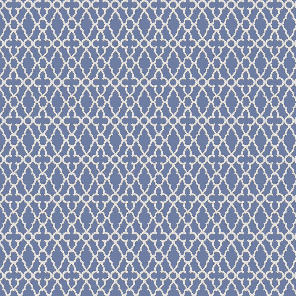 Treillage Wallpaper - White / Hyacinth - by Cole & Son