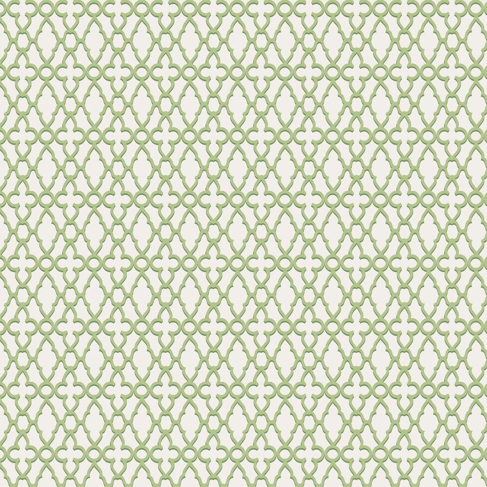 Treillage Wallpaper - Leaf Green / Chalk - by Cole & Son