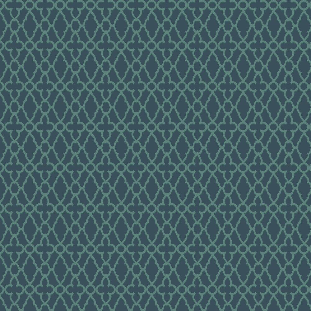 Treillage Wallpaper - Viridian / Ink - by Cole & Son