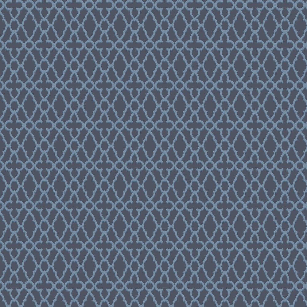 Treillage Wallpaper - Cerulean Blue / Midnight - by Cole & Son
