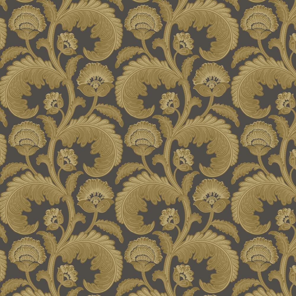 Fanfare Flock Wallpaper - Ochre / Charcoal - by Cole & Son