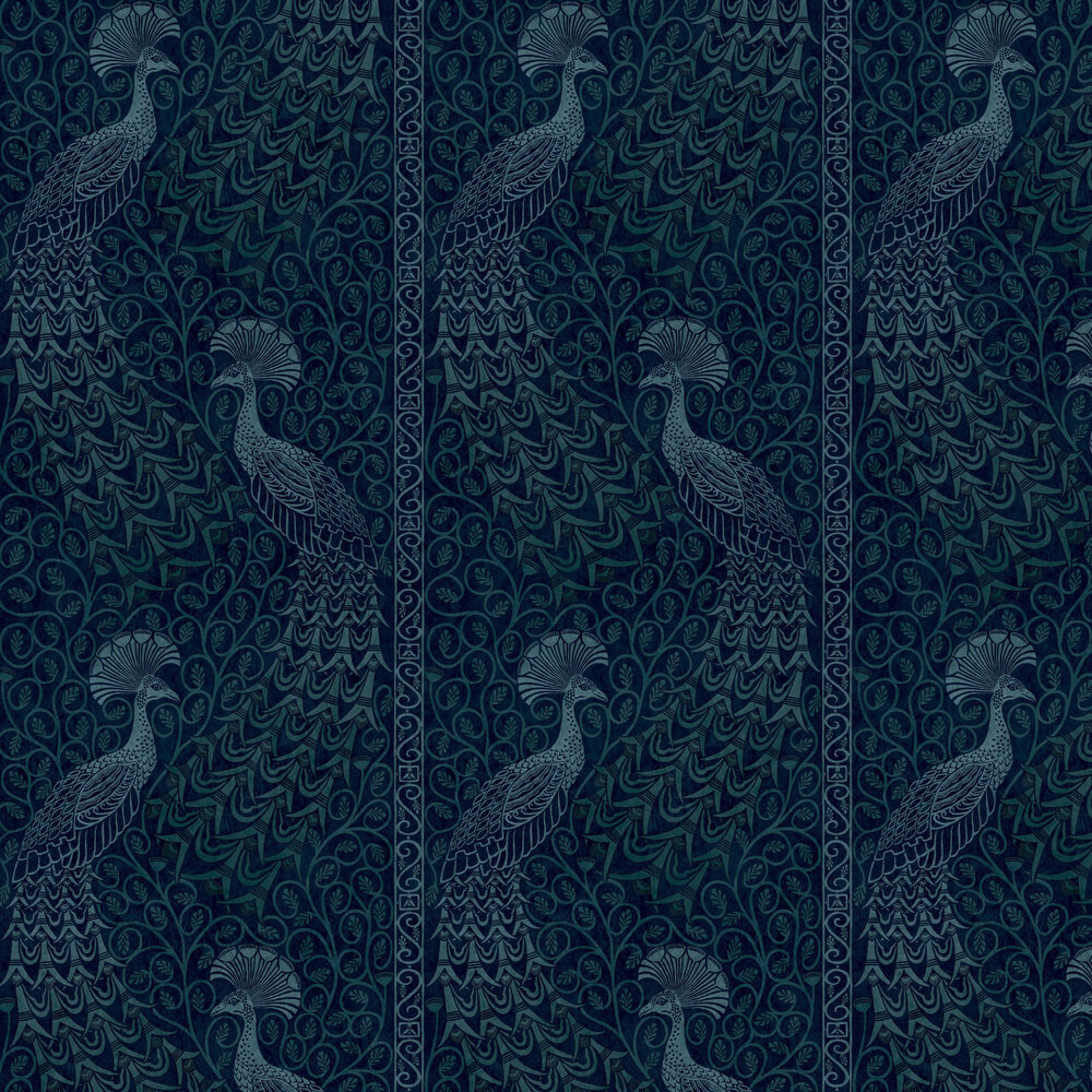 Pavo Parade Wallpaper - Metallic Petrol / Ink - by Cole & Son