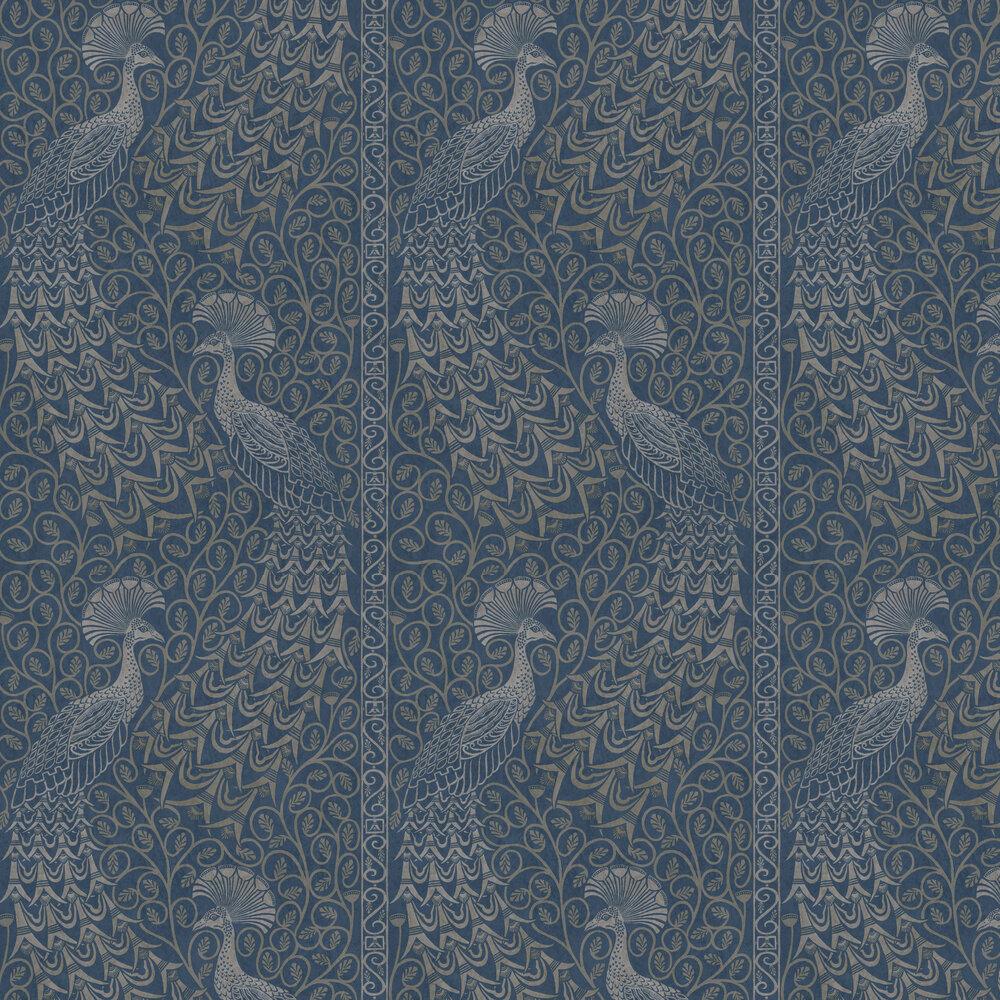 Pavo Parade Wallpaper - Metallic Silver / Denim - by Cole & Son