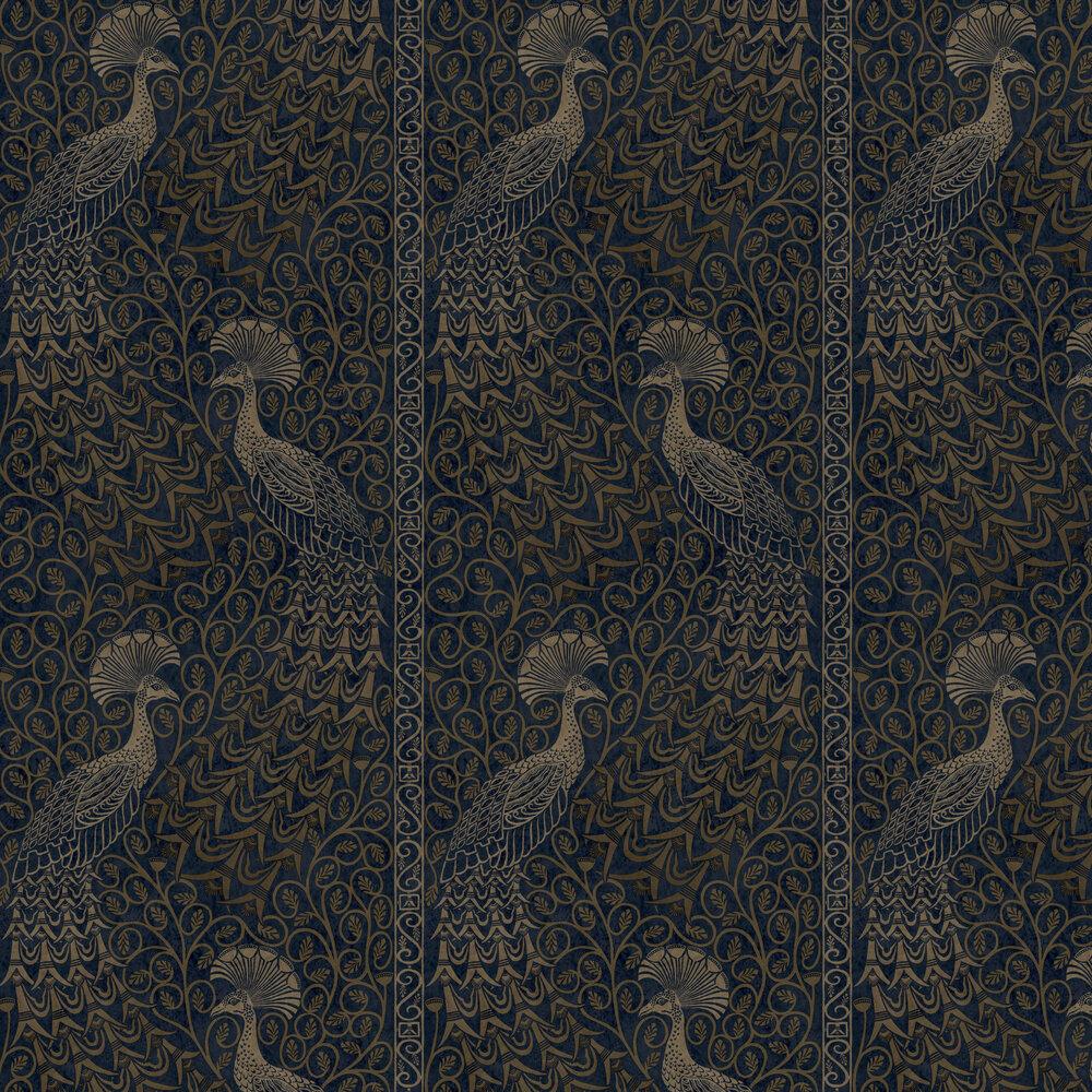 Pavo Parade Wallpaper - Metallic Bronze / Midnight - by Cole & Son