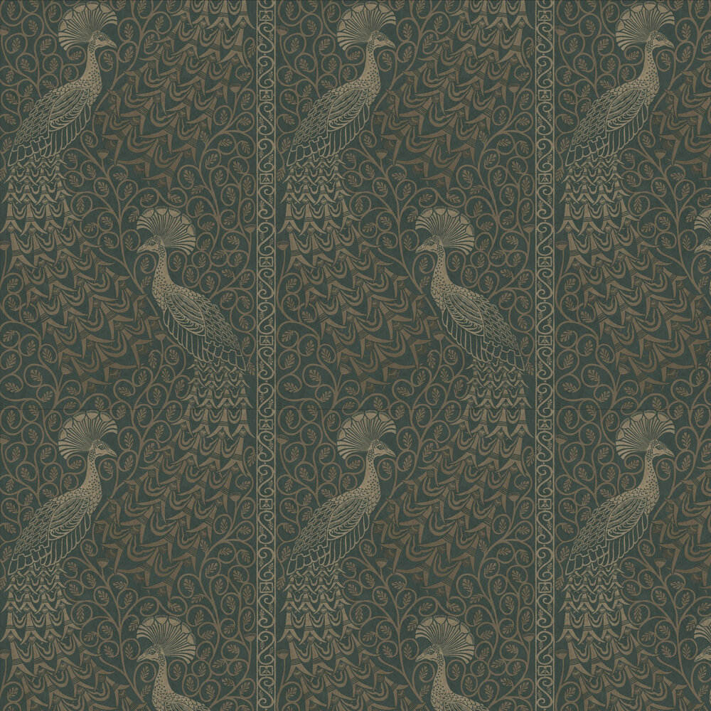 Cole & Son Pavo Parade Metallic Gilver / Racing Car Green Wallpaper - Product code: 116/8031