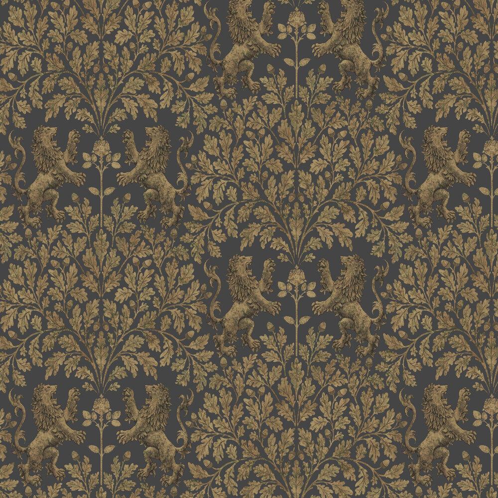 Boscobel Oak Wallpaper - Metallic Antique Gold / Black - by Cole & Son