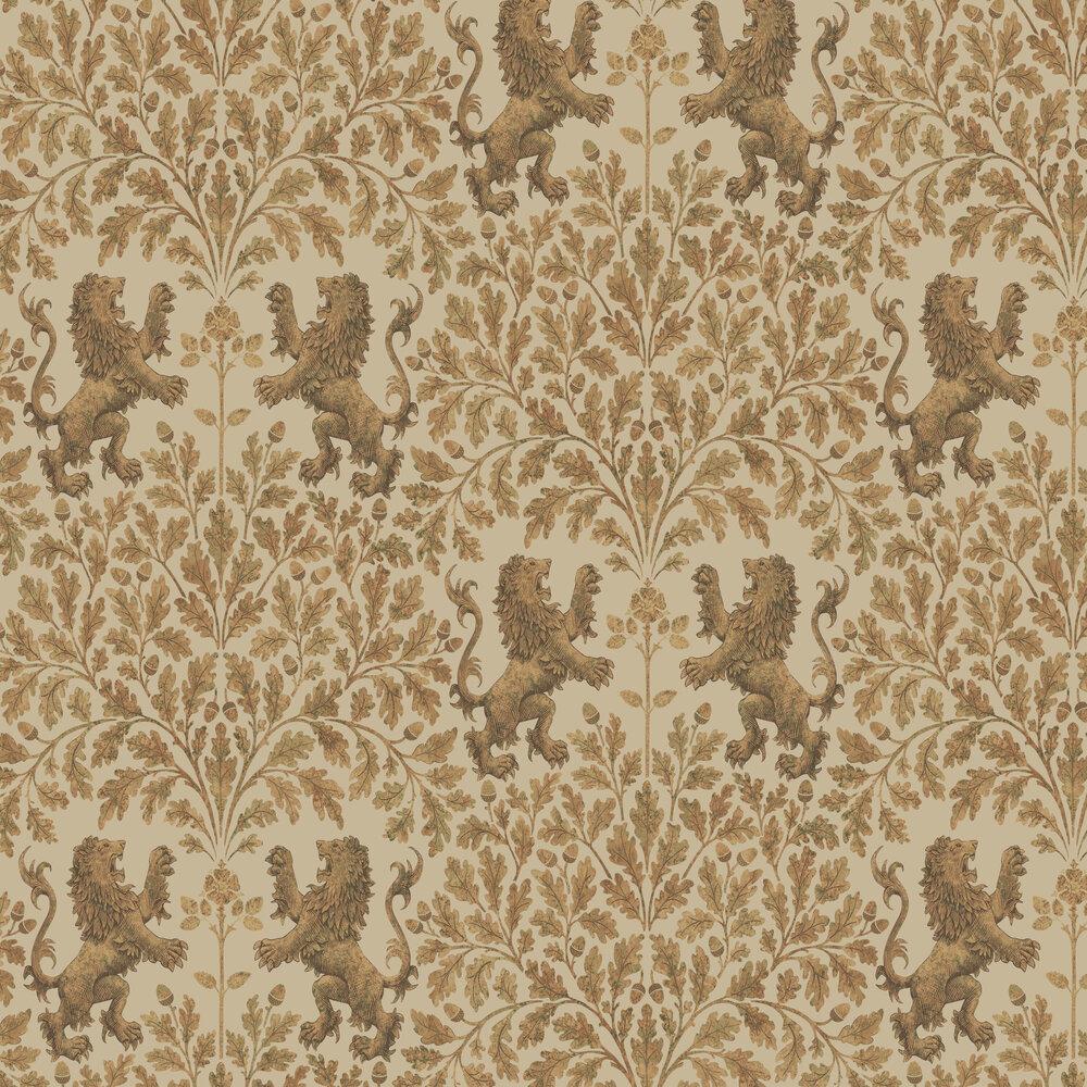Boscobel Oak Wallpaper - Metallic Gold / Oat - by Cole & Son