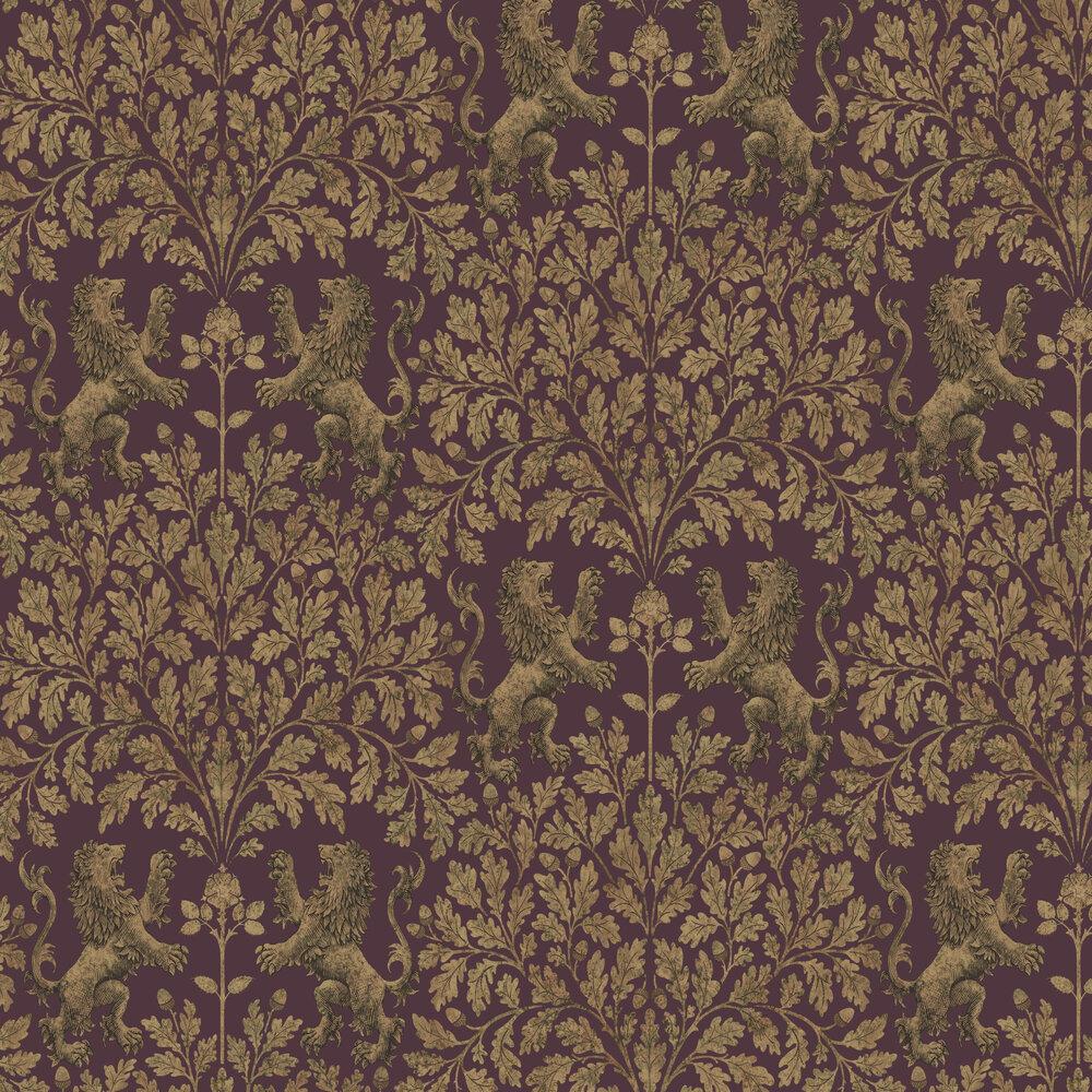 Boscobel Oak Wallpaper - Metallic Autumnal Gold / Claret - by Cole & Son