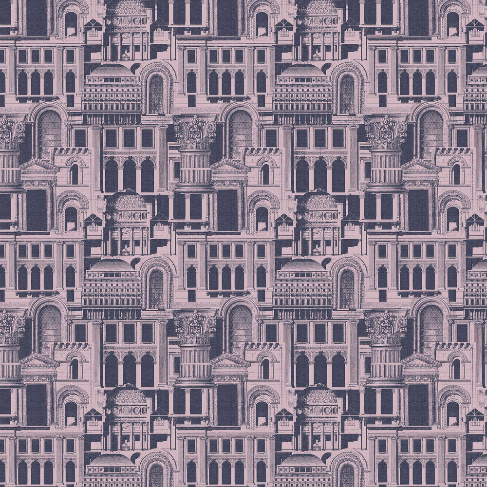 Graham & Brown Quarters Rose / Navy Wallpaper - Product code: 105284