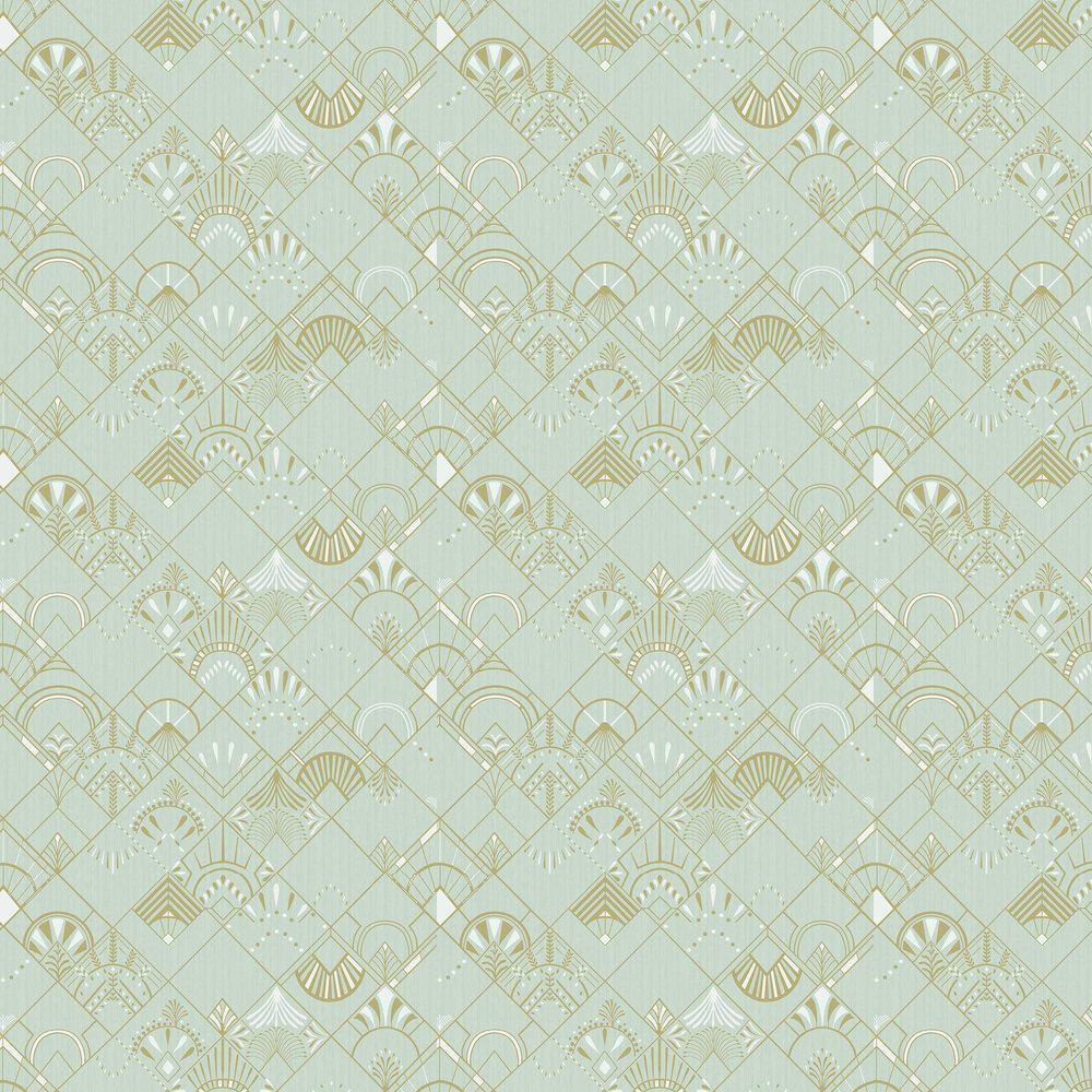 Golden Years Wallpaper - Mint Green and Gold - by Caselio