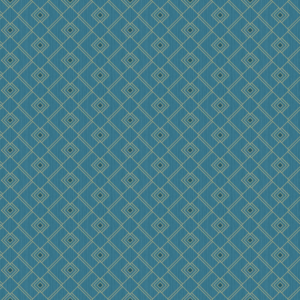 Gatsby Wallpaper - Teal Blue and Gold - by Caselio