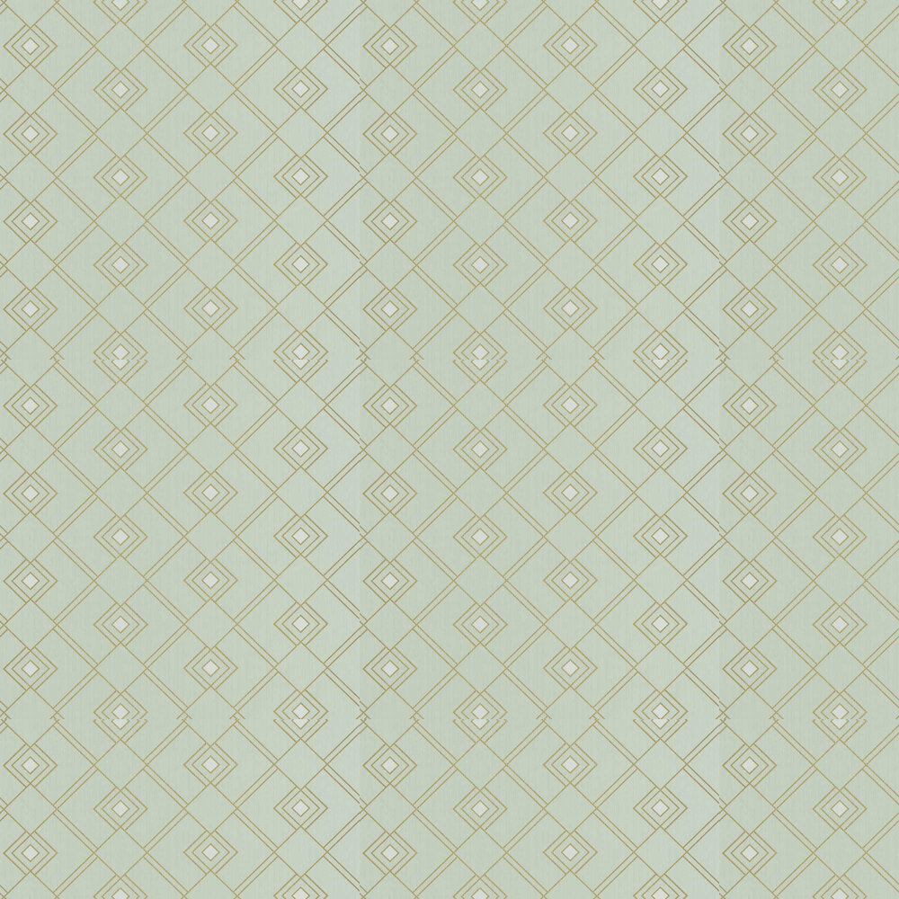 Gatsby Wallpaper - Mint Green and Gold - by Caselio