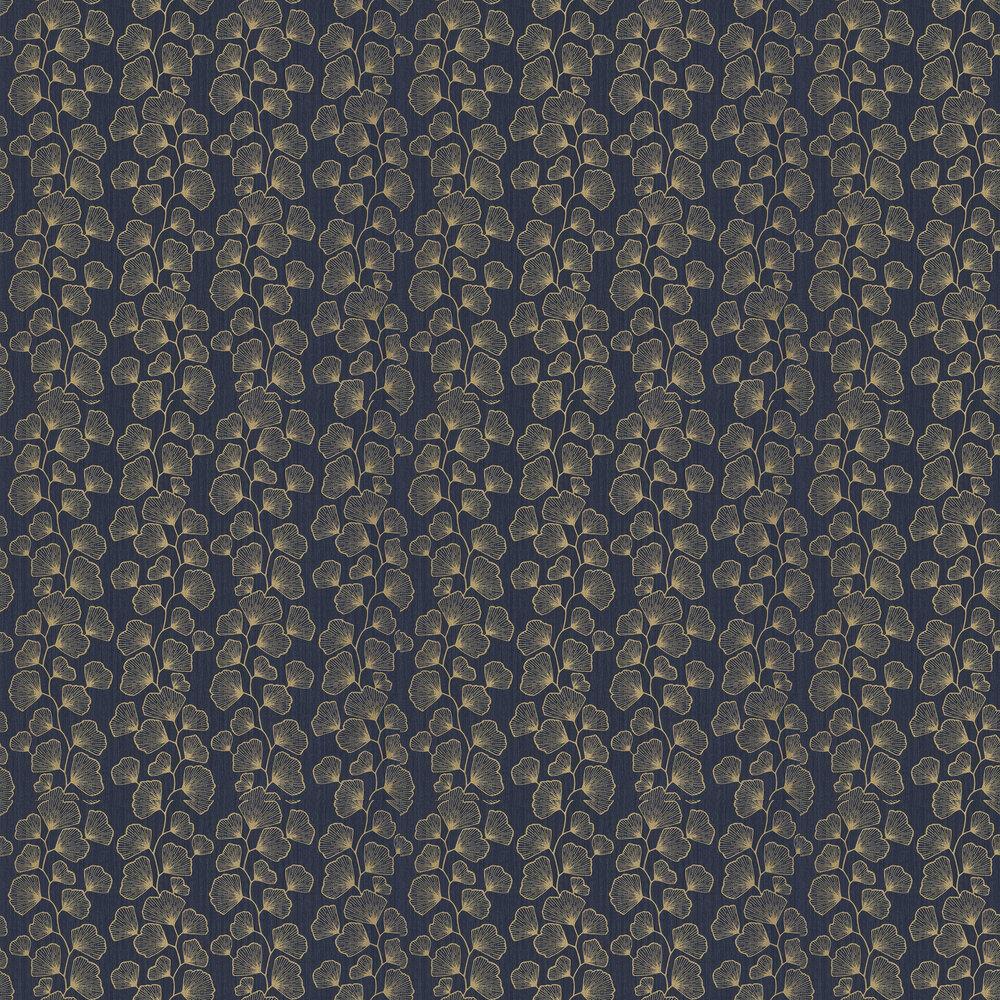 Ginko Wallpaper - Dark Blue and Gold - by Caselio