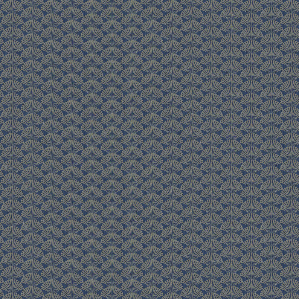 Pearl Wallpaper - Navy Blue and Gold - by Caselio
