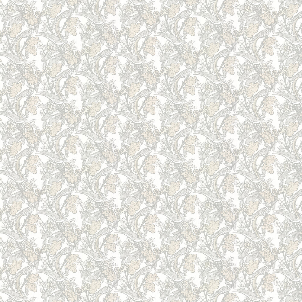 Pretty Boys Wallpaper - Opal White - by Laurence Llewelyn-Bowen