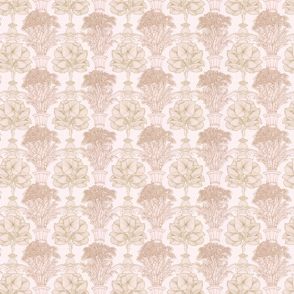 Copacabana Wallpaper - Gold / Blush Pink - by Laurence Llewelyn-Bowen