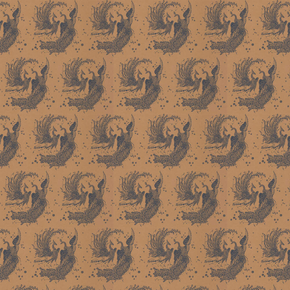 The Boys are Back in Town Wallpaper - Copper / Blue - by Laurence Llewelyn-Bowen