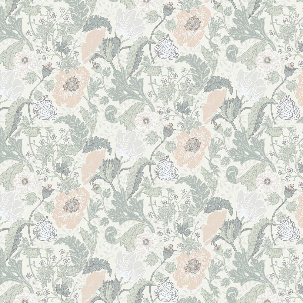 Galerie Anemone White / Light Green Wallpaper - Product code: 33000