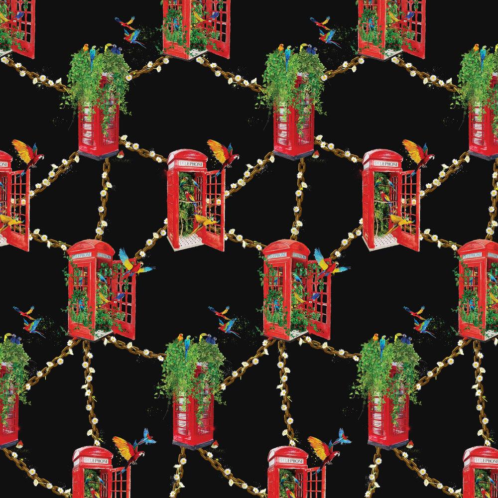 London's Calling Wallpaper - Midnight Black - by Hattie Lloyd