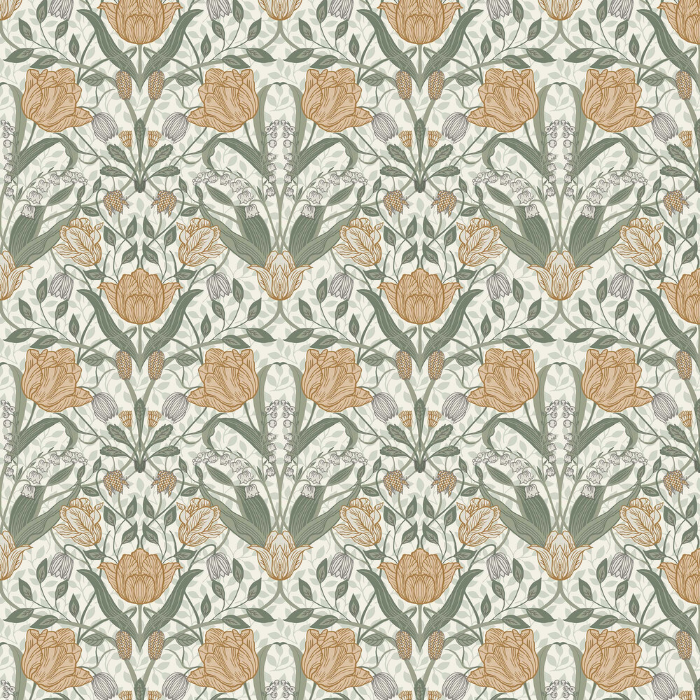 Filippa Wallpaper - Green / Orange - by Galerie