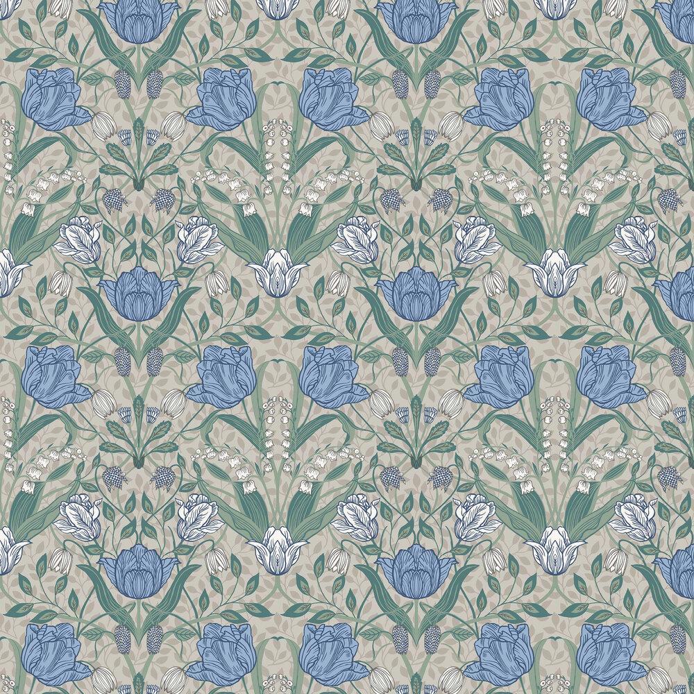Filippa Wallpaper - White / Green / Blue - by Galerie