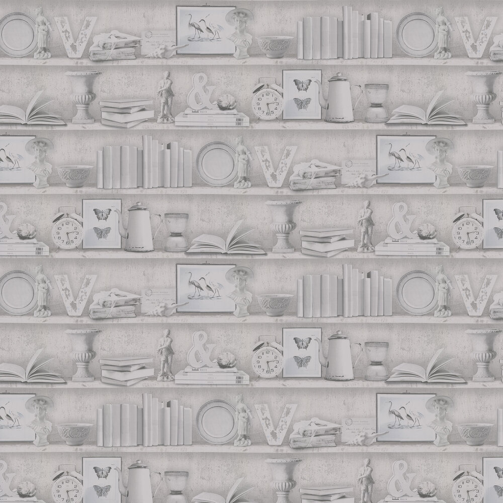 On The Shelf Wallpaper - Monochrome - by Galerie