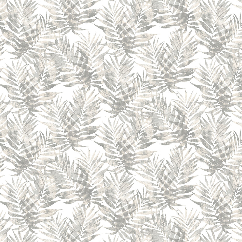 Palm Leaves Wallpaper - Beige and Grey - by Galerie