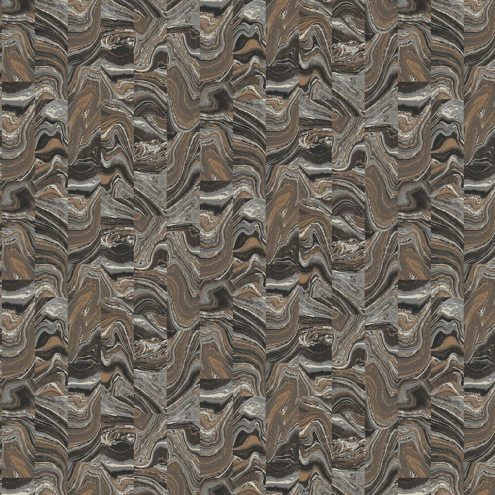 Marble Tile Wallpaper - Copper and Silver - by Galerie