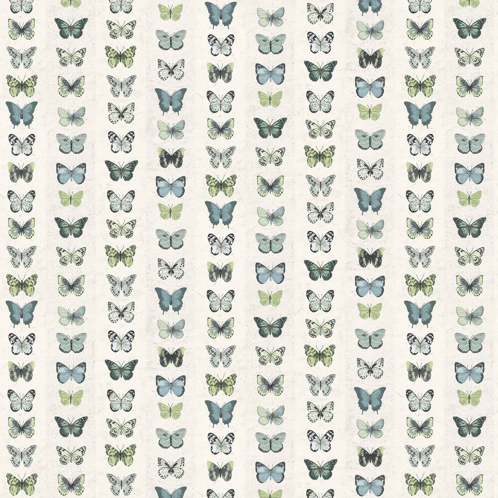 Butterfly Wall Wallpaper - Green Blue - by Galerie