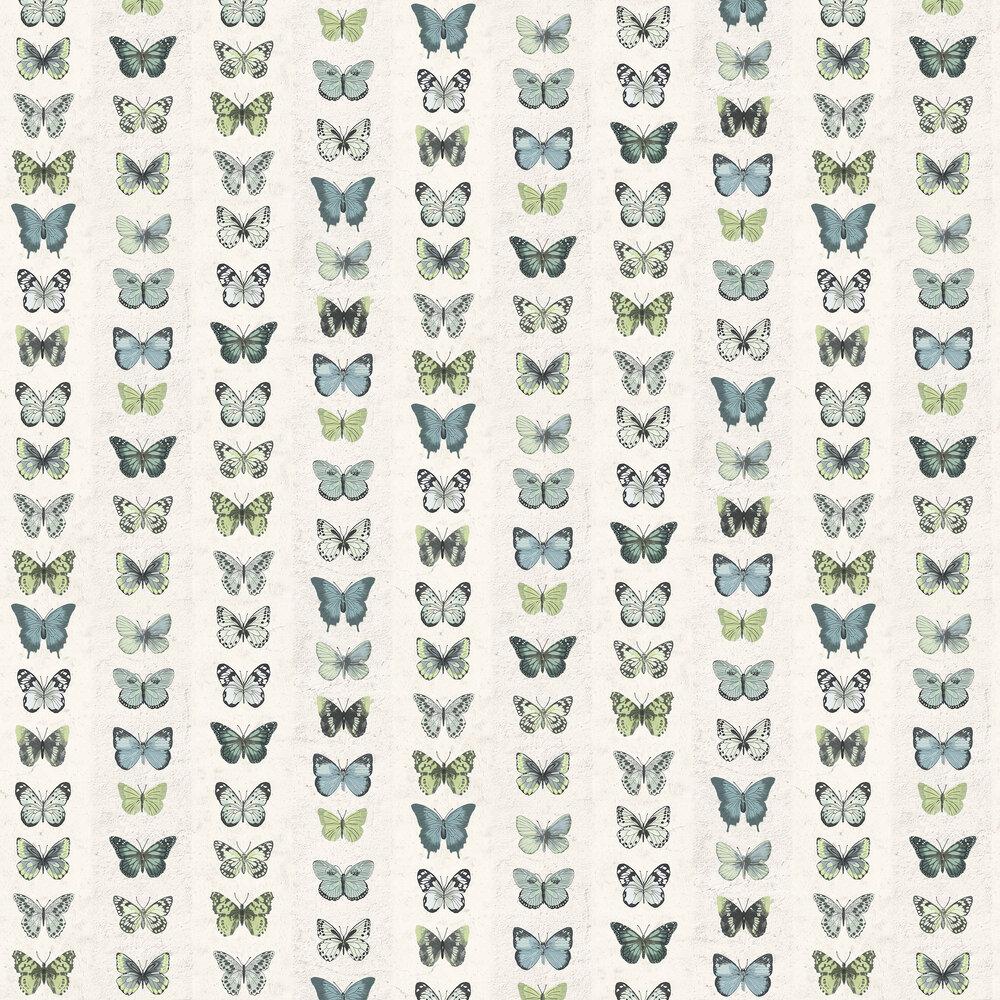 Butterfly Wall Wallpaper - Green Blue - by Galerie