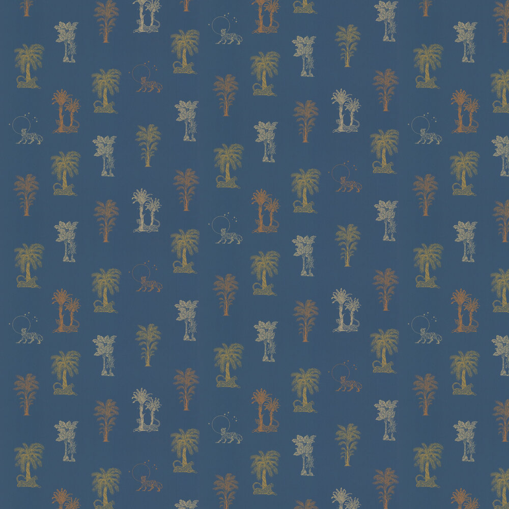 Topical Tropical Wallpaper - Blue / Metallics - by Laurence Llewelyn-Bowen