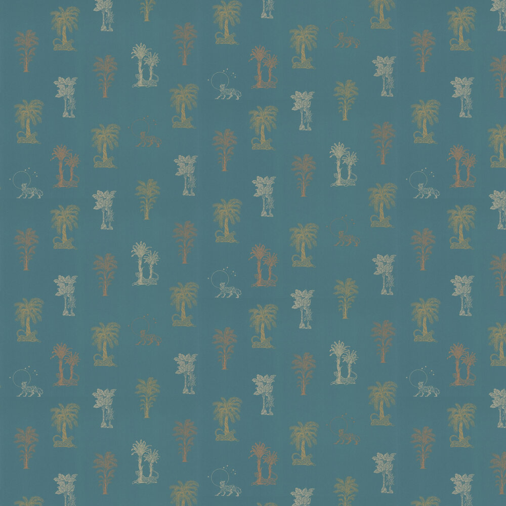 Topical Tropical Wallpaper - Teal / Metallics - by Laurence Llewelyn-Bowen