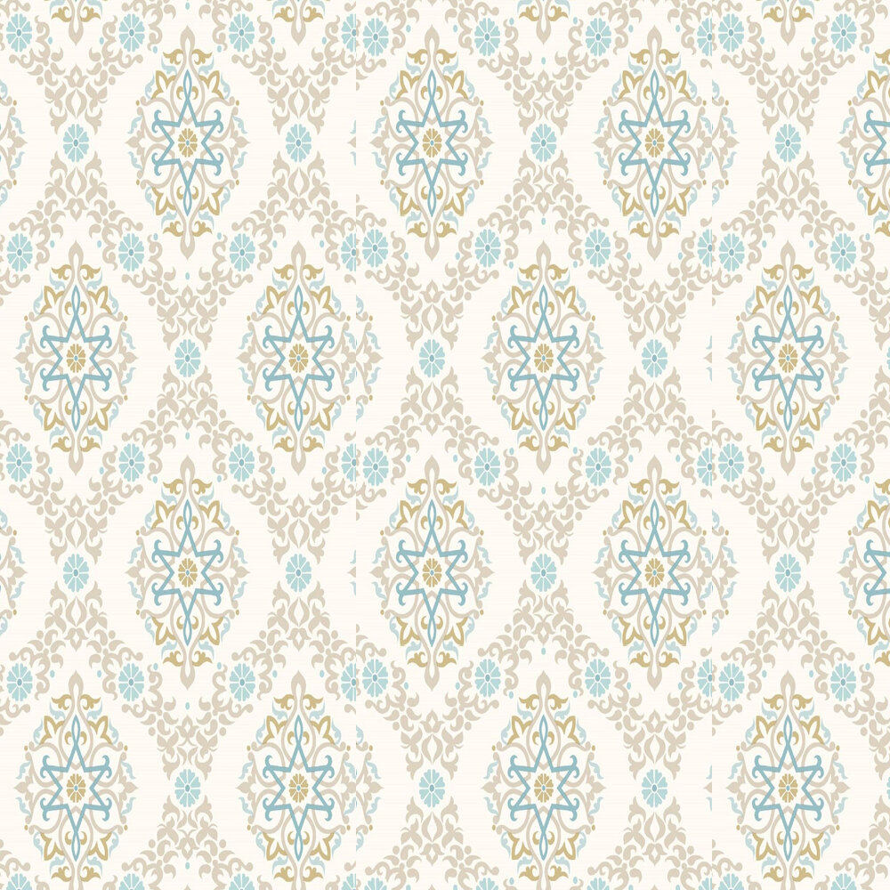 Small Geomtric Damask Wallpaper - Stone - by SK Filson