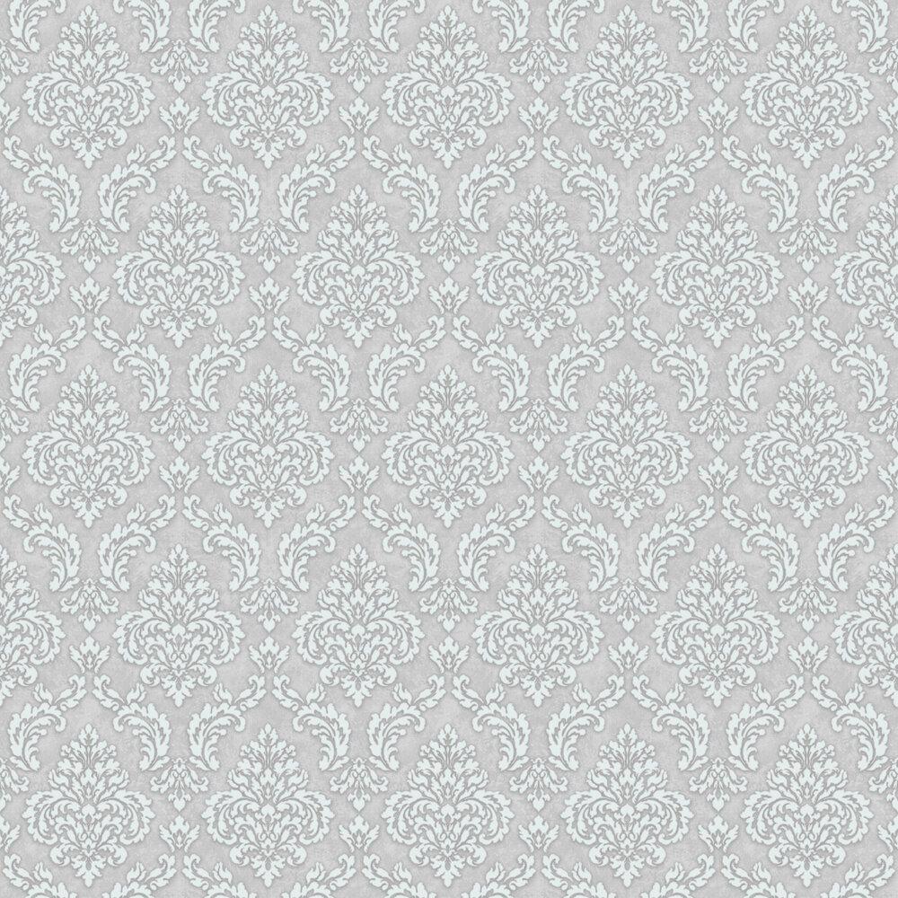 Sahara Damask Wallpaper - Light Grey - by SK Filson