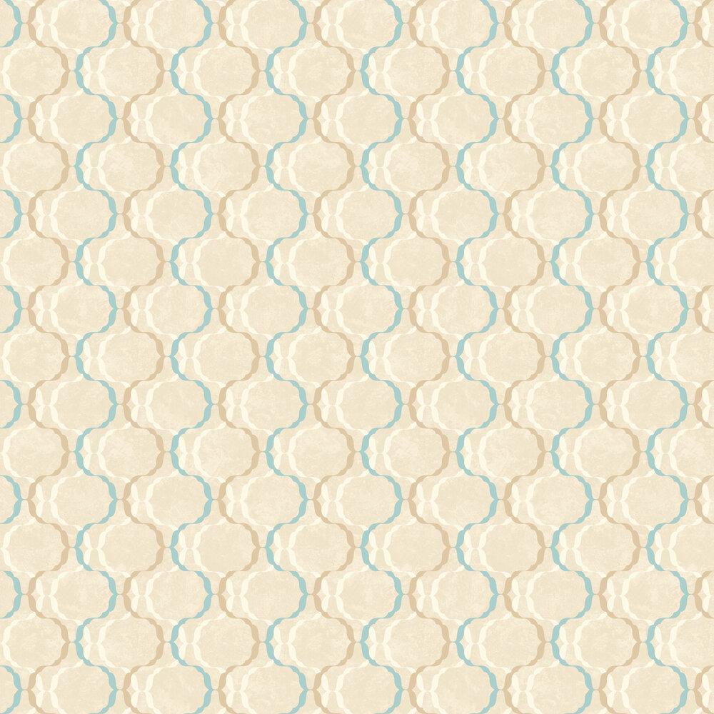 Diamond Trellis Wallpaper - Blue / Beige - by SK Filson