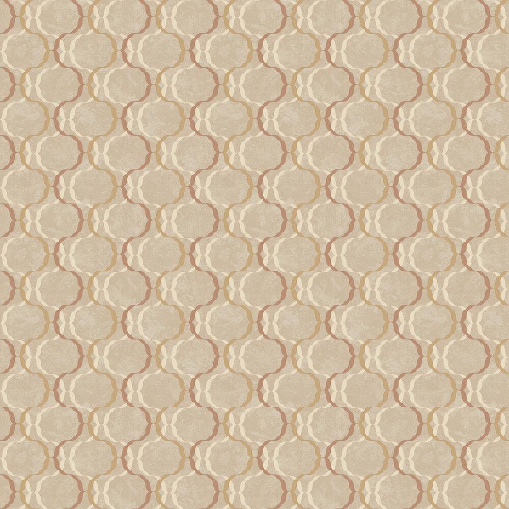 Diamond Trellis Wallpaper - Copper - by SK Filson