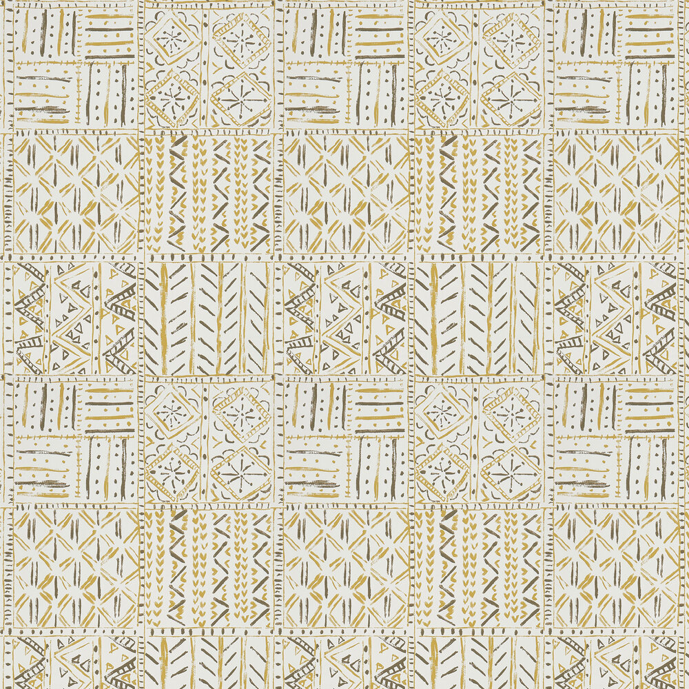 Cloisters Wallpaper - Ochre/ Tobacco - by Nina Campbell