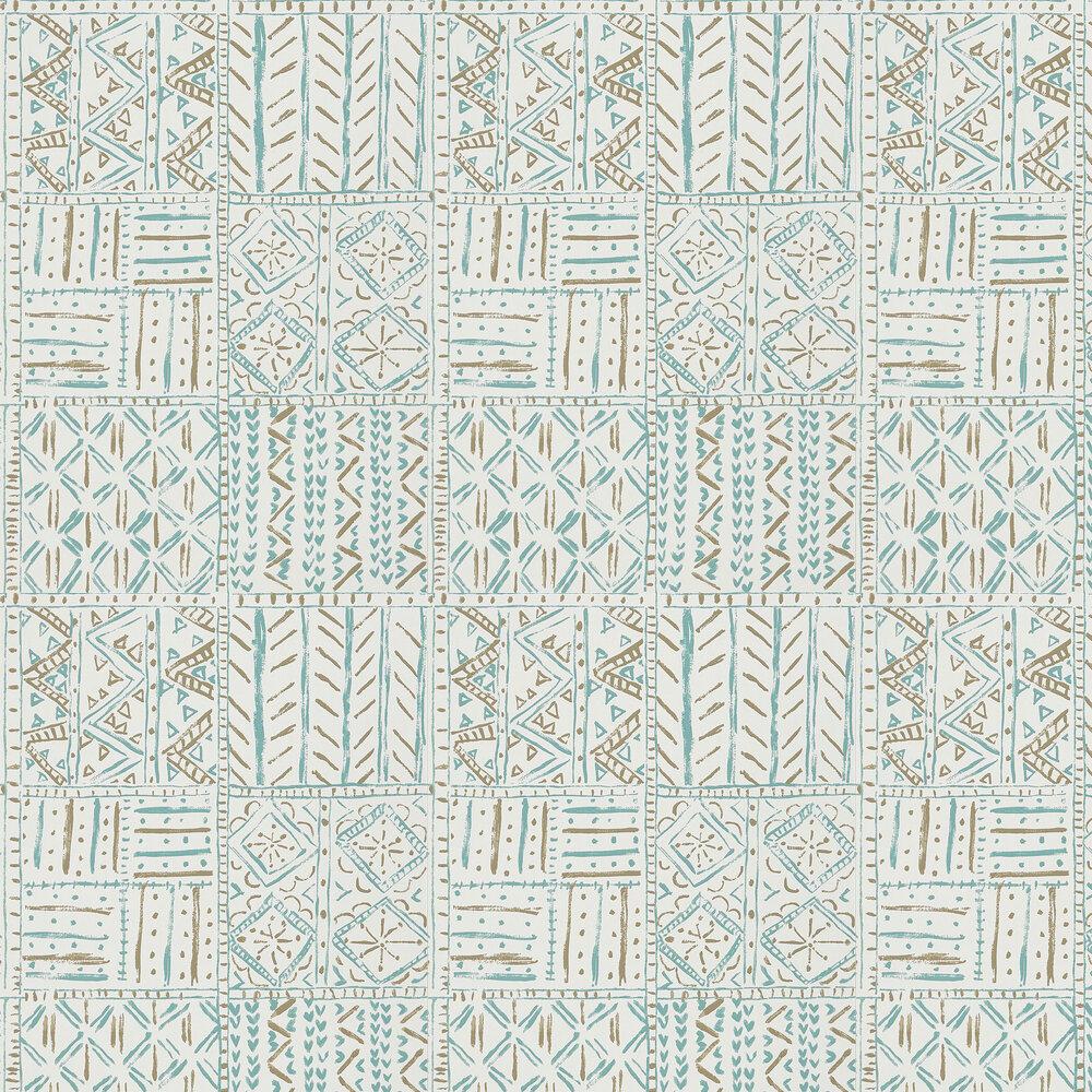 Nina Campbell Cloisters Aqua/ Taupe Wallpaper - Product code: NCW4391-02