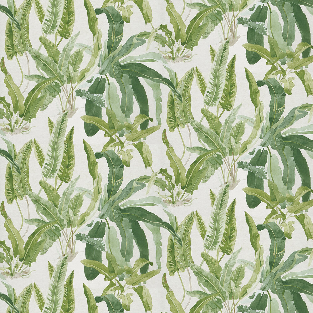 Benmore Wallpaper - Green/ Ivory - by Nina Campbell