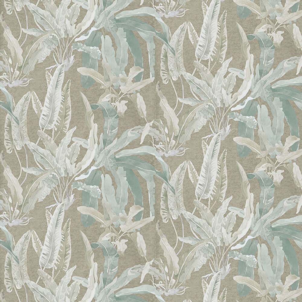 Benmore Wallpaper - Eau de Nil/ Gilver - by Nina Campbell