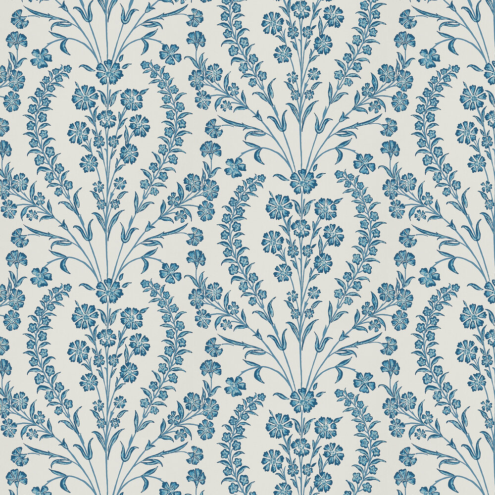 Chelwood Wallpaper - Blue/ Ivory - by Nina Campbell