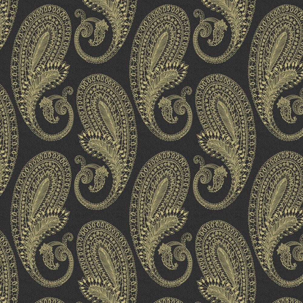 Graham & Brown Boteh Black / Gold Wallpaper - Product code: 105924