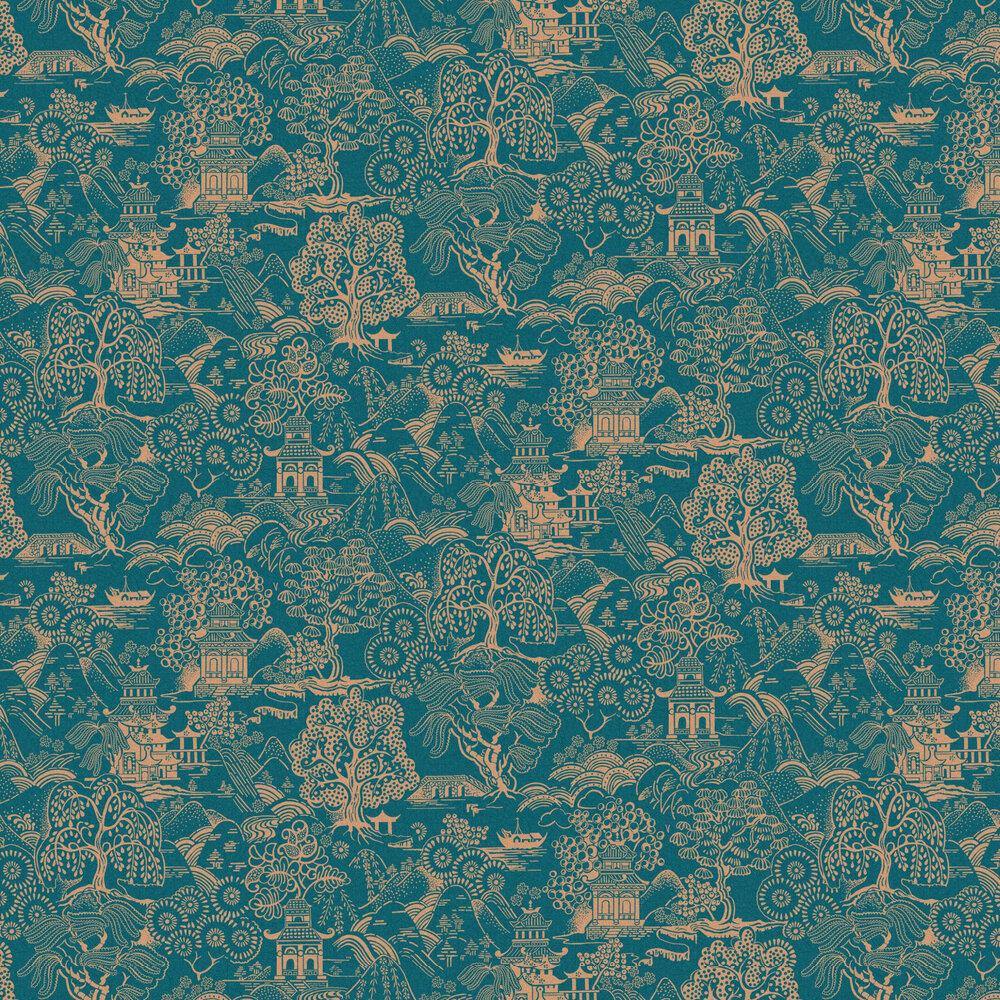 Basuto Wallpaper - Teal - by Graham & Brown