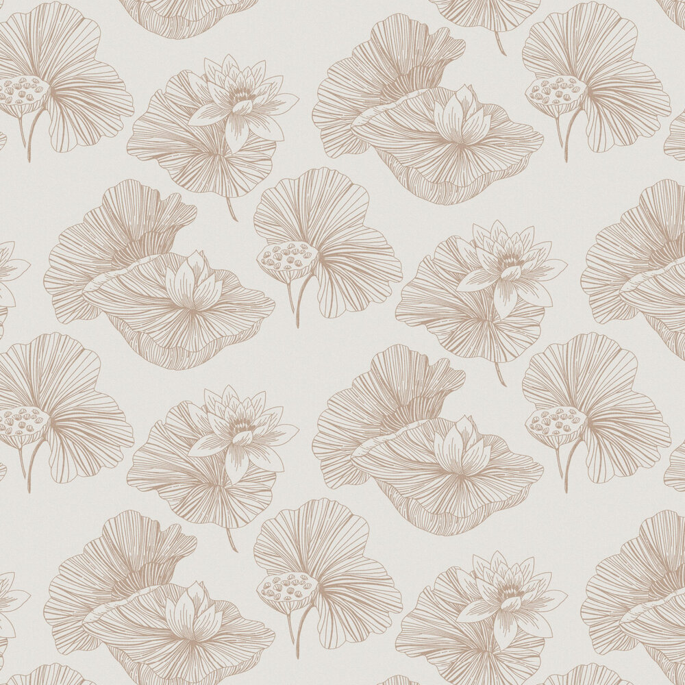 Lotus Wallpaper - Cream - by Graham & Brown
