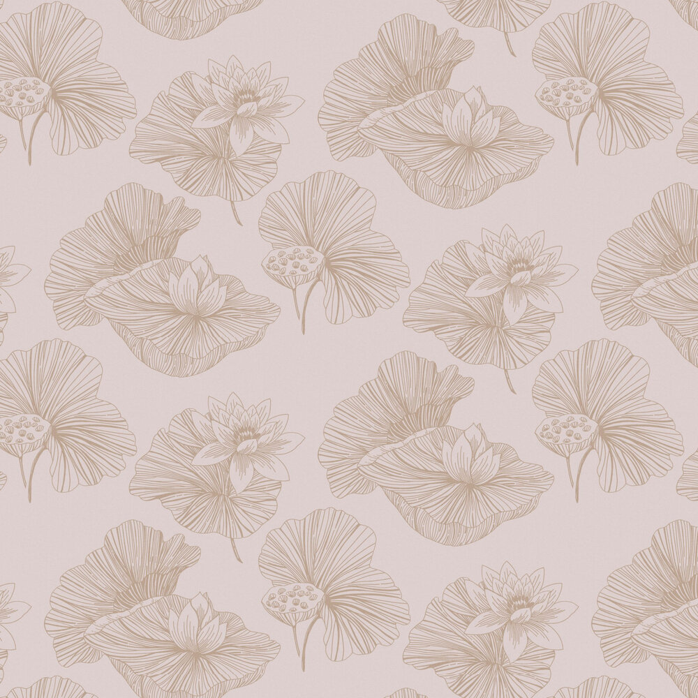 Lotus Wallpaper - Blush - by Graham & Brown